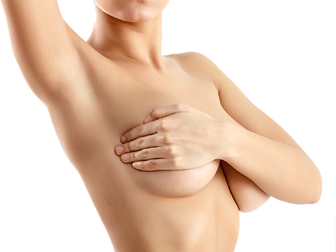 Boob covered by hand